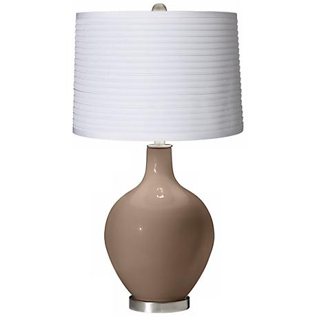 Mocha White Pleated Shade Ovo Table Lamp