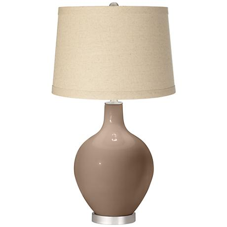 Mocha Oatmeal Linen Shade Ovo Table Lamp