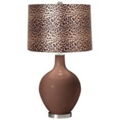 Rugged Brown Leopard Print Ovo Table Lamp