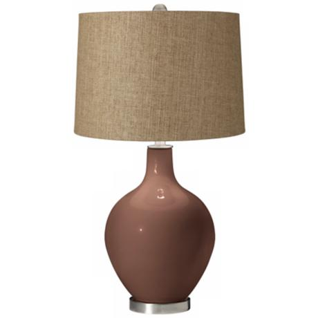 Rugged Brown Tan Woven Ovo Table Lamp