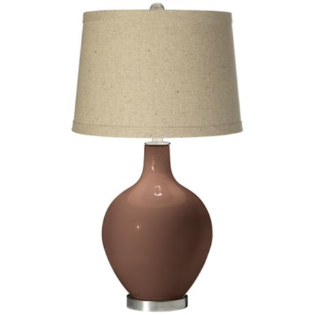 Rugged Brown Oatmeal Linen Shade Ovo Table Lamp