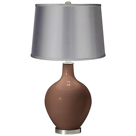 Rugged Brown - Satin Light Gray Shade Ovo Table Lamp