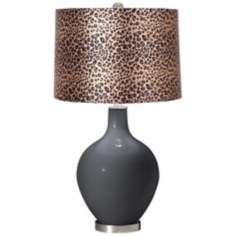 Black of Night Leopard Print Ovo Table Lamp