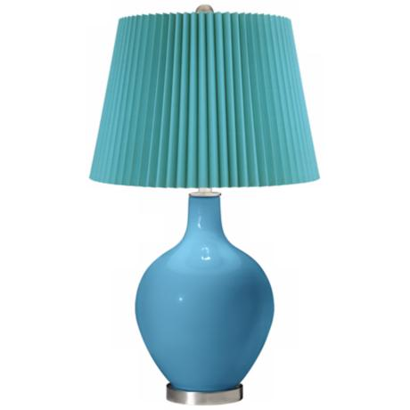Jamaica Bay Turquoise Pleat Ovo Table Lamp