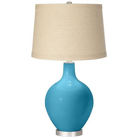 Jamaica Bay Oatmeal Linen Shade Ovo Table Lamp