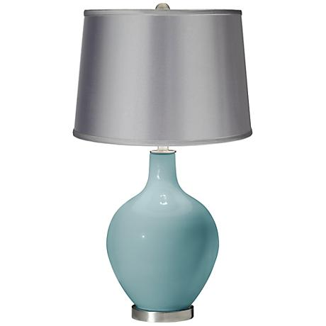Raindrop - Satin Light Gray Shade Ovo Table Lamp