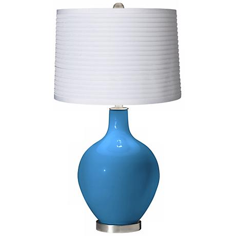 River Blue White Pleated Shade Ovo Table Lamp
