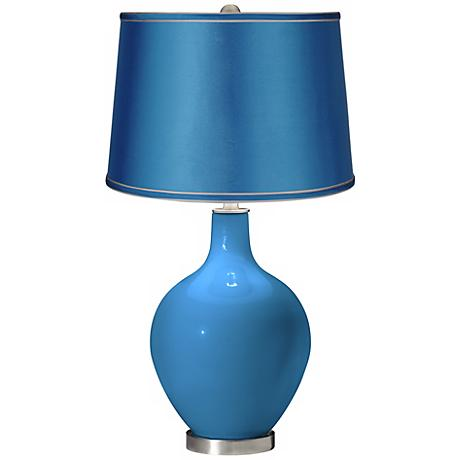 River Blue - Satin Turquoise Shade Ovo Table Lamp