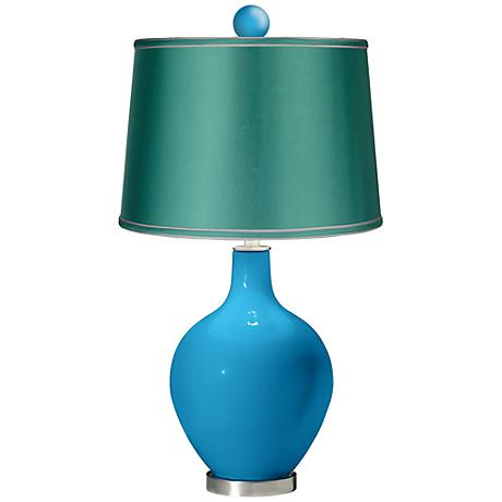 River Blue - Satin Sea Green Ovo Lamp with Color Finial
