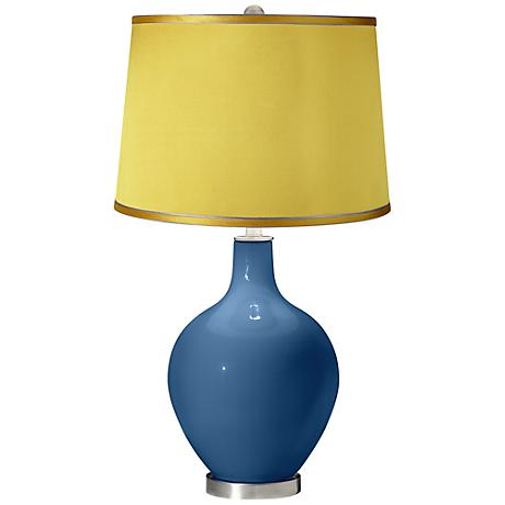 Regatta Blue - Satin Yellow Shade Ovo Table Lamp