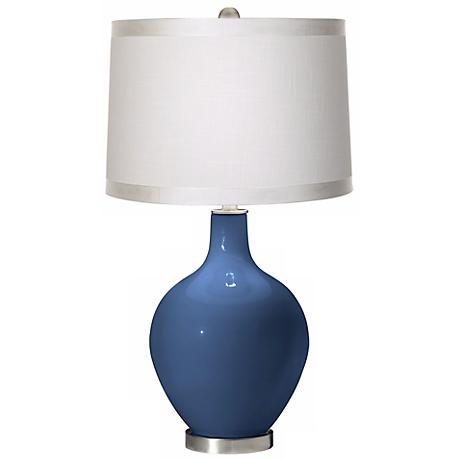 Regatta Blue White Drum Shade Ovo Table Lamp