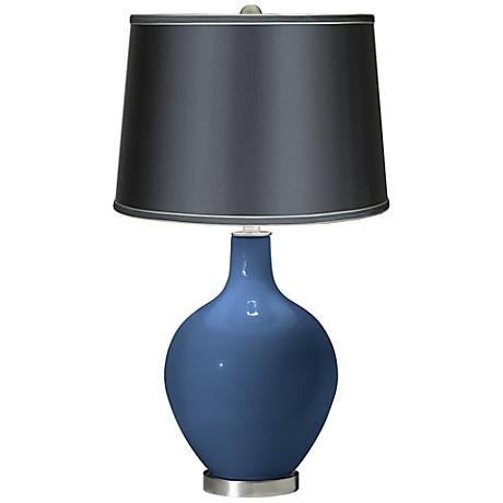 Regatta Blue - Satin Dark Gray Shade Ovo Table Lamp