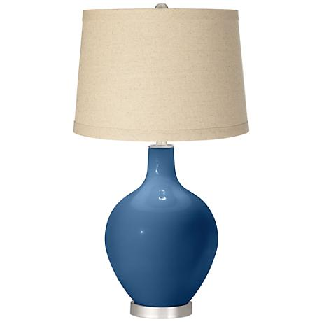 Regatta Blue Oatmeal Linen Shade Ovo Table Lamp
