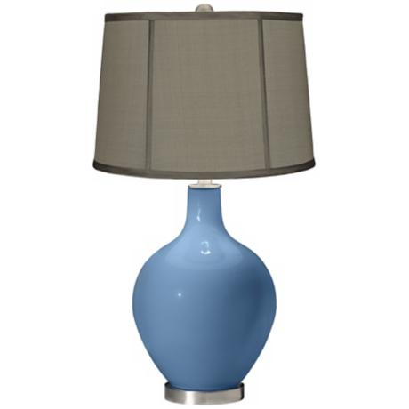 Secure Blue Gray Dupioni Silk Shade Ovo Table Lamp