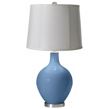 Secure Blue White Lattice Drum Ovo Table Lamp