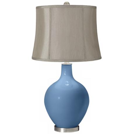 Secure Blue Gray Shade Ovo Table Lamp