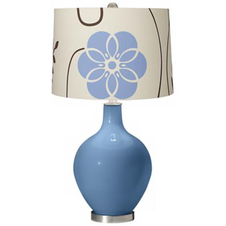 Secure Blue Blue Floral Ovo Table Lamp