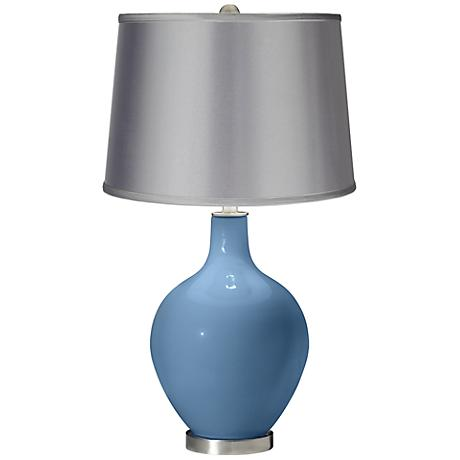 Secure Blue - Satin Light Gray Shade Ovo Table Lamp