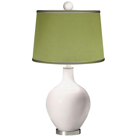 Smart White - Satin Olive Green Ovo Table Lamp with Color Finial