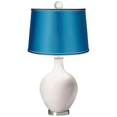 Smart White - Satin Turquoise Ovo Lamp with Color Finial