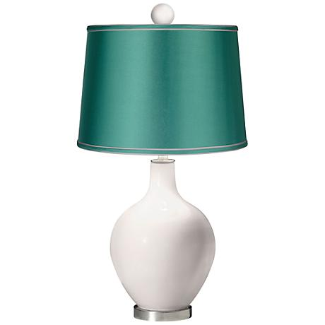 Smart White - Satin Sea Green Ovo Table Lamp with Color Finial