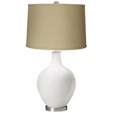 Winter White Herbal Linen Shade Ovo Table Lamp