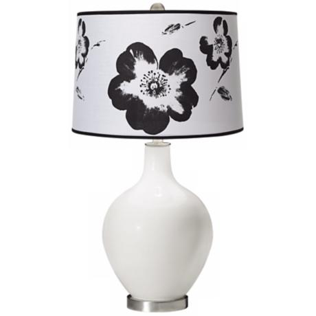 Winter White Black and White Flower Shade Ovo Table Lamp