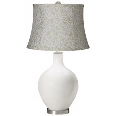 Winter White White Paisley Brocade Shade Ovo Table Lamp