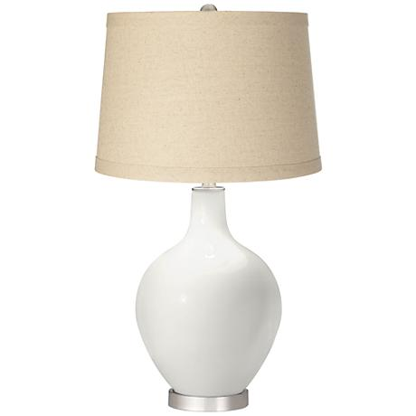Winter White Oatmeal Linen Shade Ovo Table Lamp