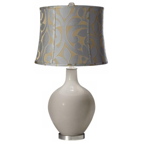 Requisite Gray Lillian Floral Ovo Table Lamp