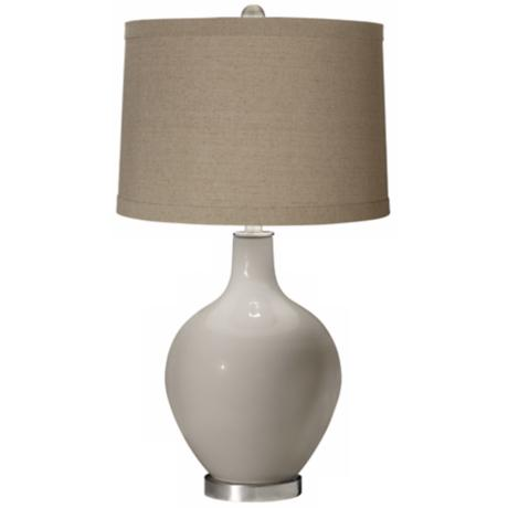 Requisite Gray Natural Linen Shade Ovo Table Lamp