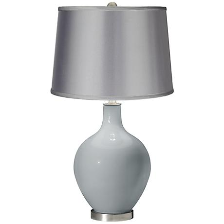 Uncertain Gray - Satin Light Gray Shade Ovo Table Lamp