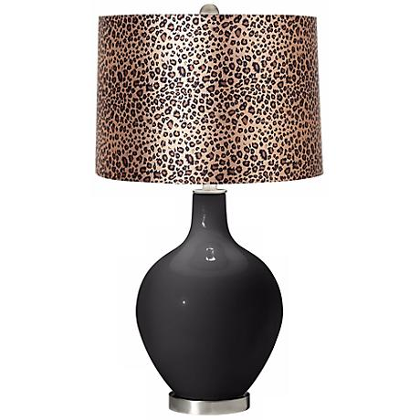 Tricorn Black Leopard Print Ovo Table Lamp