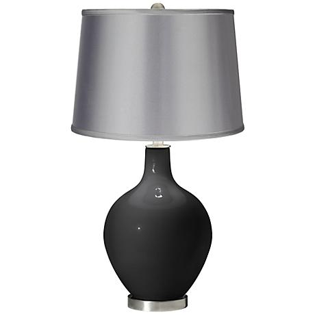 Tricorn Black - Satin Light Gray Shade Ovo Table Lamp