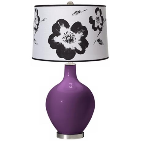 Kimono Violet Black and White Flower Shade Ovo Table Lamp