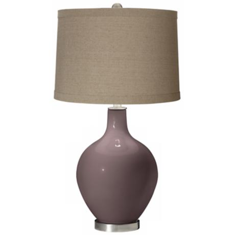 Deepest Mauve Natural Linen Shade Ovo Table Lamp