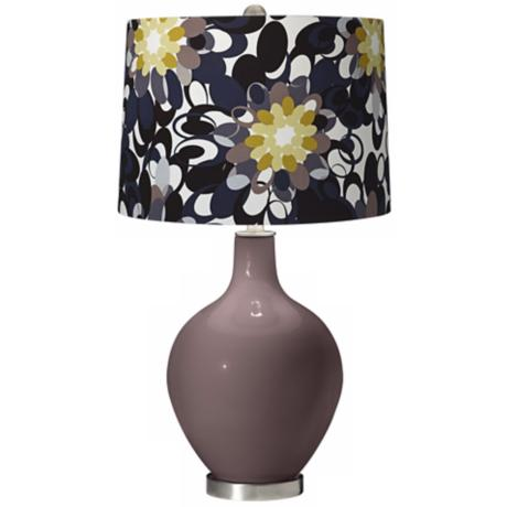 Deepest Mauve Black and Olive Ovo Table Lamp
