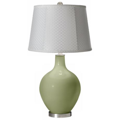 Majolica Green White Lattice Ovo Table Lamp