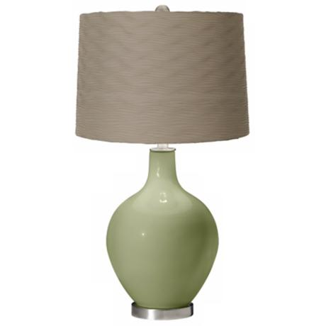 Majolica Green Taupe Wave Pleat Ovo Table Lamp