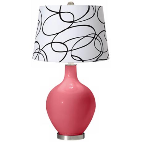 Rose Squiggle Shade Ovo Table Lamp