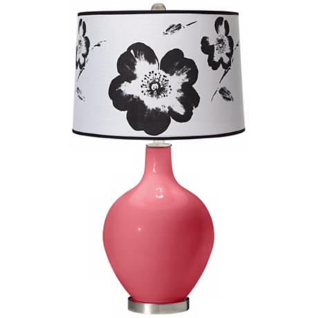 Rose Black and White Flower Shade Ovo Table Lamp