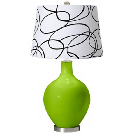 Neon Green Squiggle Shade Ovo Table Lamp