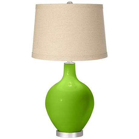 Neon Green Oatmeal Linen Shade Ovo Table Lamp