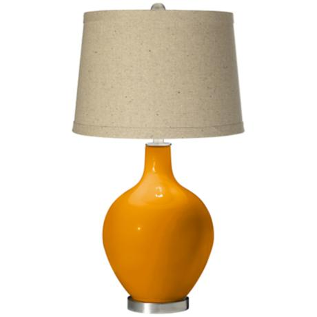Mango Oatmeal Linen Shade Ovo Table Lamp