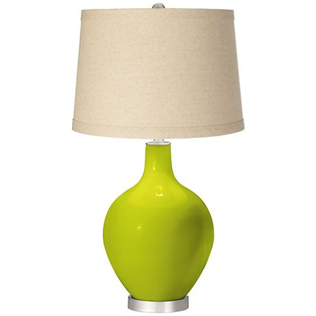 Pastel Green Oatmeal Linen Shade Ovo Table Lamp