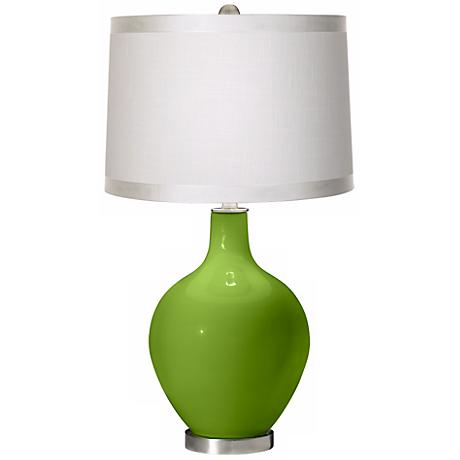 Rosemary Green White Drum Shade Ovo Table Lamp