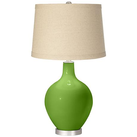 Rosemary Green Oatmeal Linen Shade Ovo Table Lamp