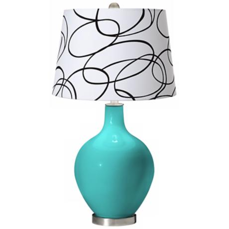 Turquoise Squiggle Shade Ovo Table Lamp