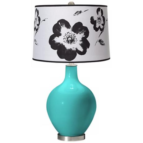 Turquoise Black and White Flower Shade Ovo Table Lamp