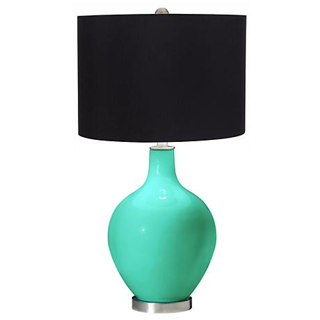 Turquoise Black Shade Ovo Table Lamp